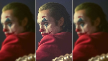 Joaquin Phoenix in a still from <i>Joker</i>.