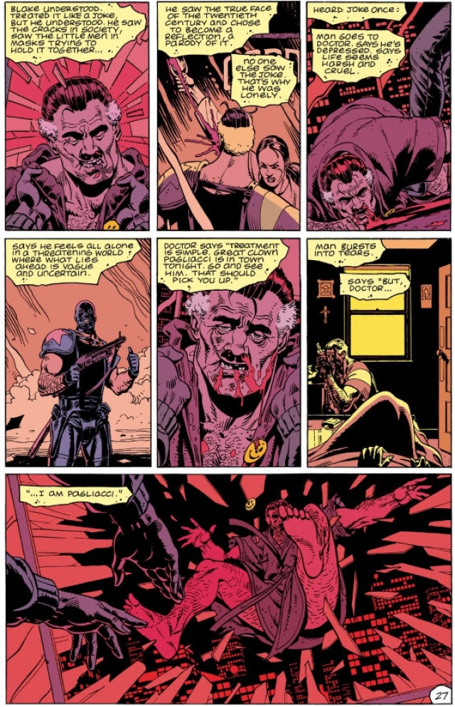 A page from <i>Watchmen</i>, which recounts the Pagliacci joke.