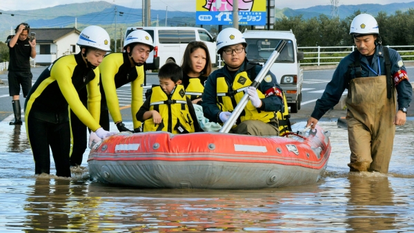 Residents on a rubber boat are rescued as they were stranded by Typhoon Hagibis, in Iwaki, Fukushima prefecture, northern Japan, Sunday, 13 Oct, 2019.