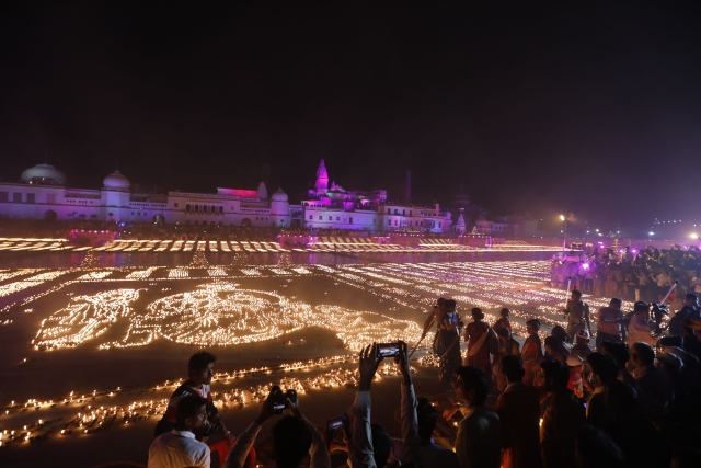 Deepotsav celebrations in Ayodhya on the eve of Diwali. A record six lakh Diya's were lit on the banks of Saryu river in Uttar Pradesh's Ayodhya as part of the state government's Deepotsav celebrations on the eve of Diwali.