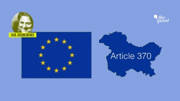 Image of EU flag (L) and Kashmir map (R) used for representational purposes.