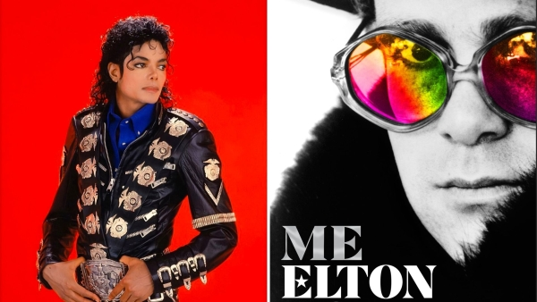 Michael Jackson (L) and cover of Elton John's book (R)