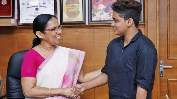 India's first Trans man pilot, Adam Harry met Kerala Minister KK Shailaja.