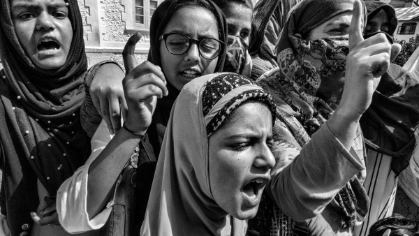 Girls in Anchaar protesting against the government on 27 September.