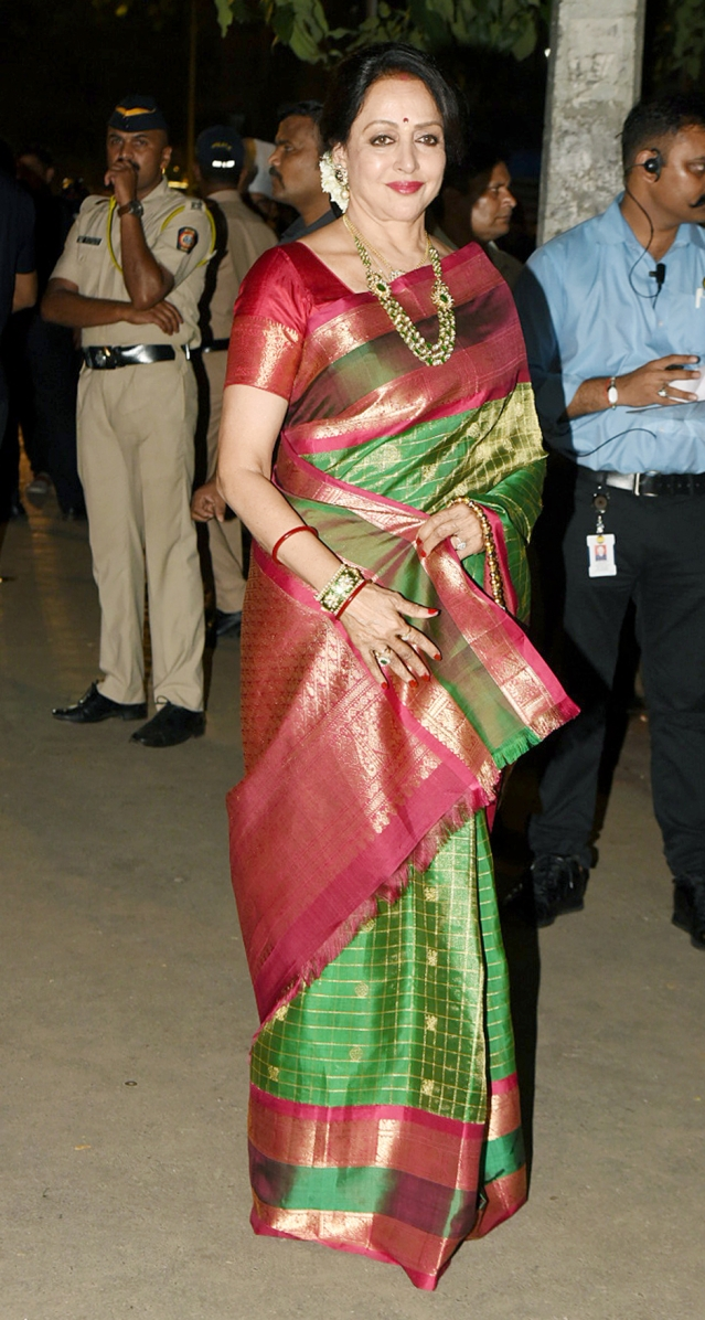 Hema Malini arriving at the party.