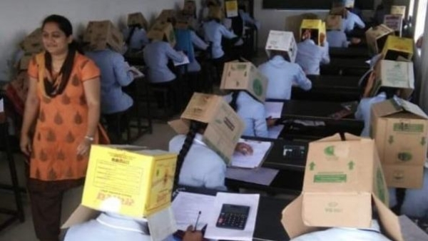 A college in Karnataka asked students to wear cardboard boxes in order to allegedly prevent them from cheating.