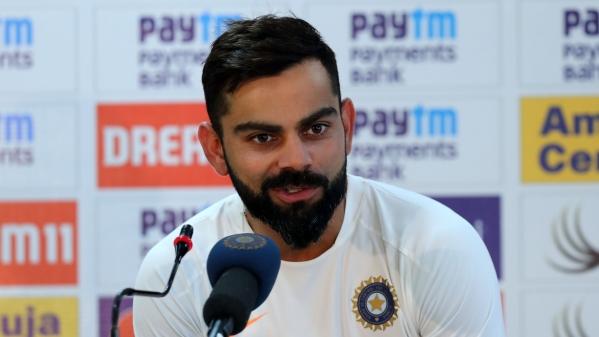 "Image result for Kohli PC 1st India vs WI T20I Byju's jersey"""
