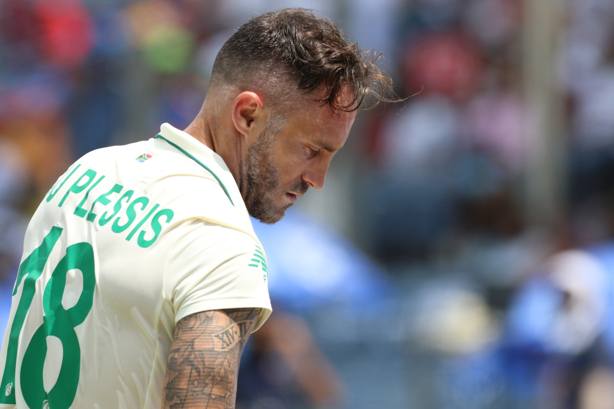 Faf du Plessis (c) of South Africa walk back after his dismissal during day 3 of the second test match between India and South Africa held at the Maharashtra Cricket Association Stadium in Pune, India on the 12th October 2019