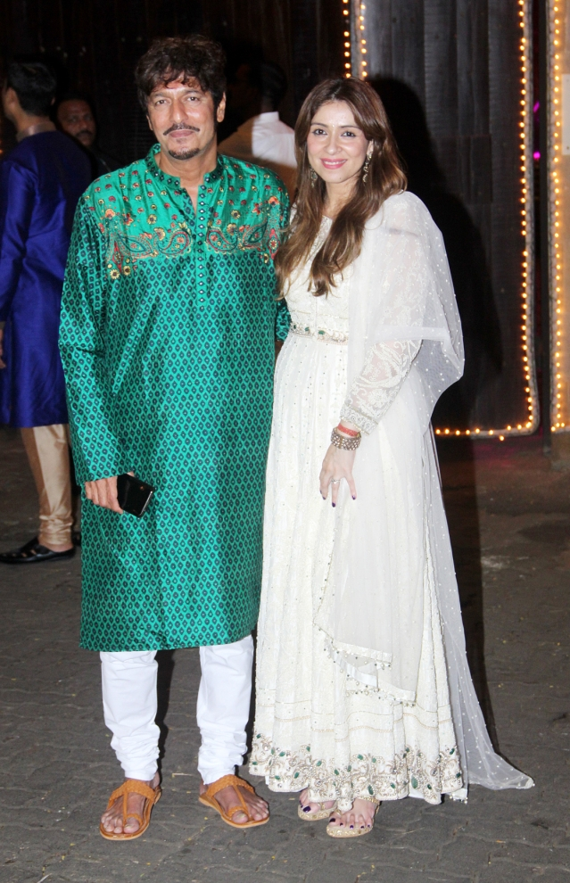 Chunky Panday with wife Bhavna Panday.