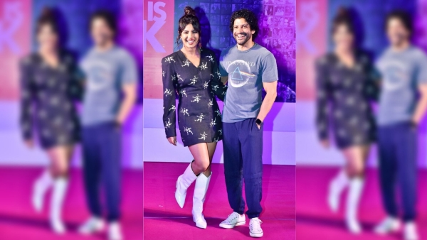 Priyanka Chopra and Farhan Akhtar inaugurate the Wall of Love as part of <i>The Sky is Pink</i> promotions.