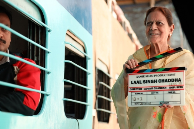 Aamir Khan's mother Zeenat Hussain with the clapboard.