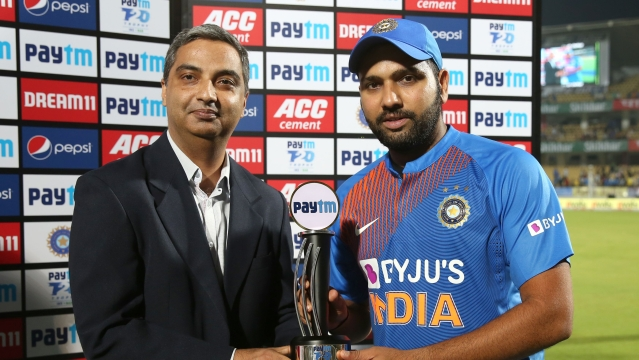 Rohit Sharma was named Man of the Match in the second T20 against Bangladesh at Rajkot.