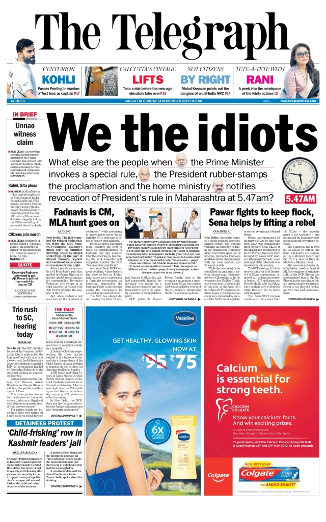 The front-page headline of <i>The Telegraph </i>was 'We The Idiots'.