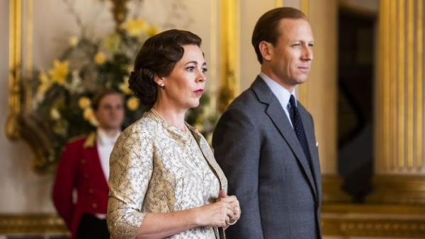 Olivia Colman and Tobias Menzies as Queen Elizabeth and Prince Philips.