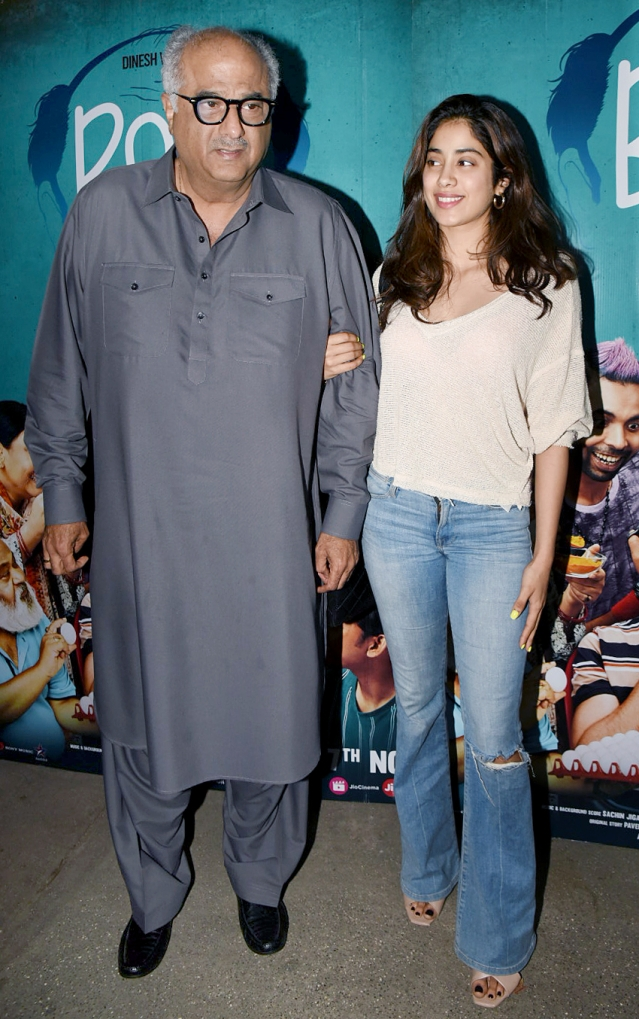 Janhvi Kapoor attended the screening with Dad Boney Kapoor.