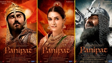 Arjun Kapoor, Kriti Sanon and Sanjay Dutt in posters for <i>Panipat</i>.
