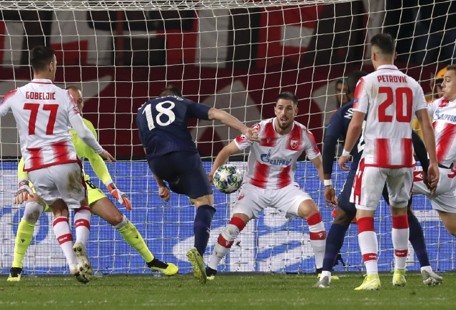 Tottenham's Giovani Lo Celso scores his side's first goal during the Champions League group B game between Red Star and Tottenham, at the Rajko Mitic Stadium in Belgrade, Serbia.