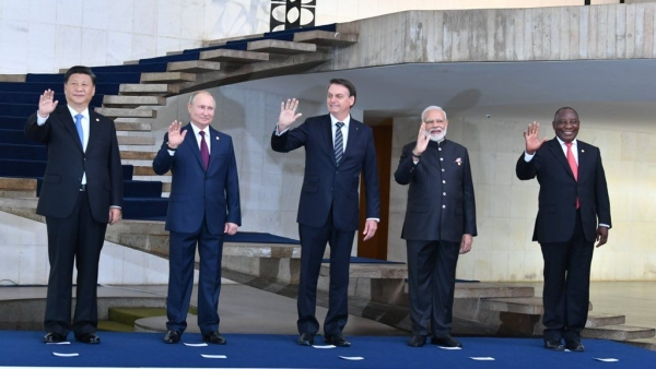 Prime minister Narendra Modi (second from right) with other world leaders at the BRICS summit.