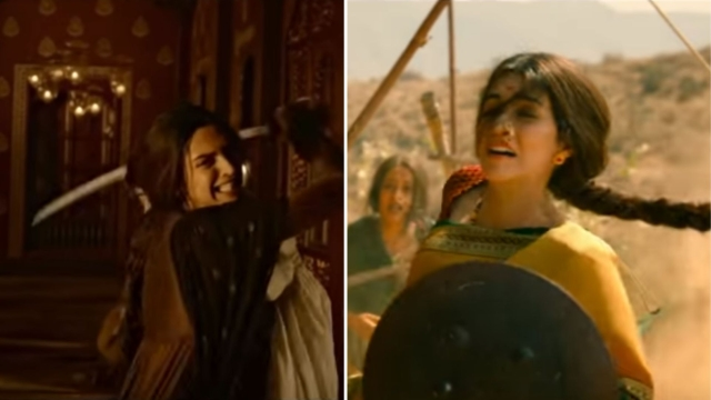 Warrior queens Mastani and Parvati Bai, played by Deepika Padukone and Kriti Sanon, respectively.