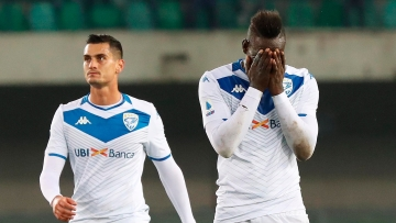 Brescia's Mario Balotelli reacts at the end of the Serie A match between Verona and Brescia. The game ended 2-1 in Verona's favour.