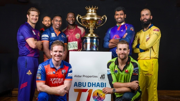 Team captains with the Abu Dhabi T10 League trophy in Abu Dhabi on Thursday.