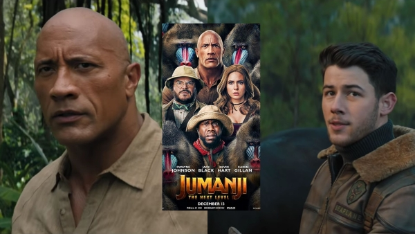 Dwayne Johson and Nick Jonas in <i>Jumanji: The Next Level.</i>