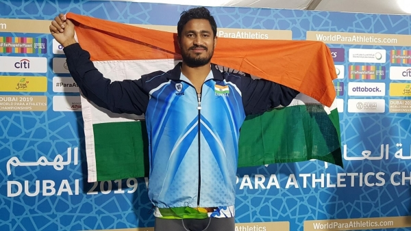 Sundar Singh Gurjar after winning gold for India at the ongoing World Para Athletics Championships.