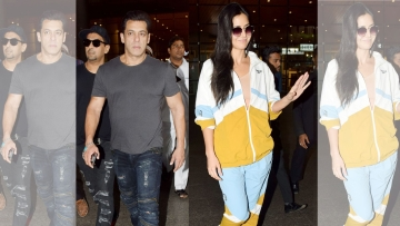 Salman Khan and Katrina Kaif arrive after their Da-Bangg Tour in Dubai.