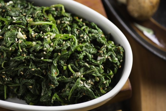 Spinach is loaded with iron.