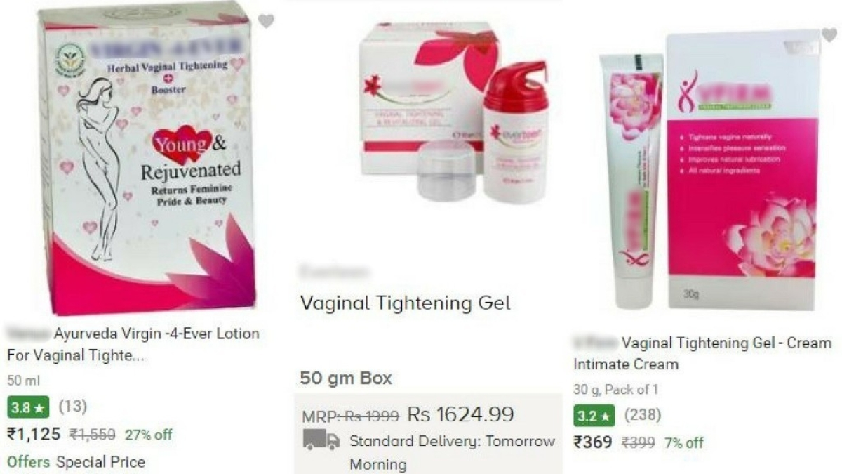 Screenshots of vaginal tightening creams available online.