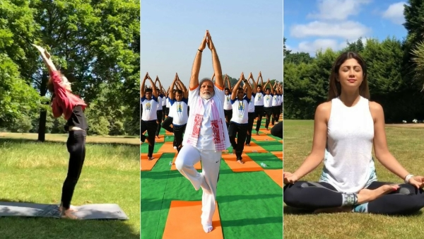 Kangana Ranaut, PM Modi and Shilpa Shetty doing yoga (from left to right).