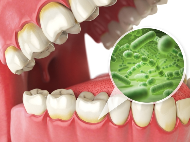 There are bacteria which feed on the miniscule amount food residue that is left between your teeth.