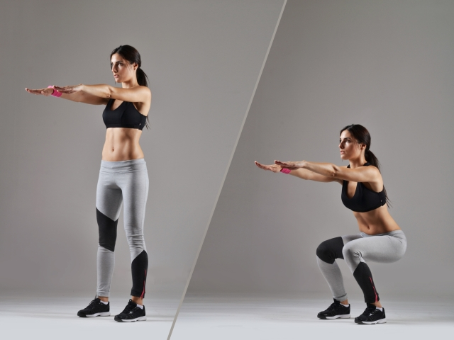 Squat while keeping back in a neutral position.
