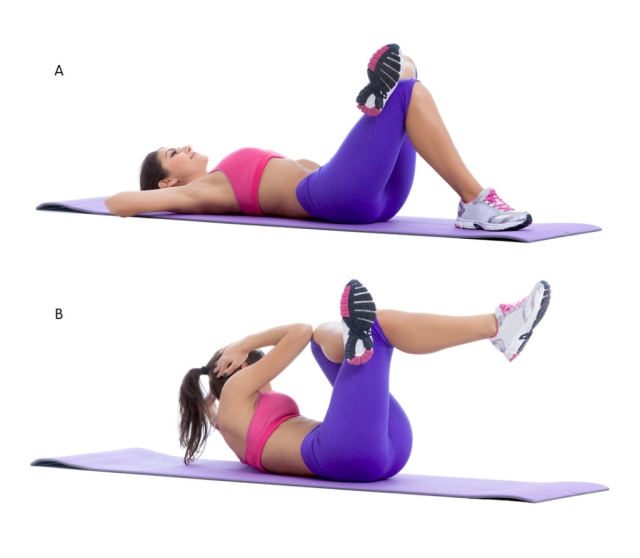 The above picture shows a reverse cross leg crunch.