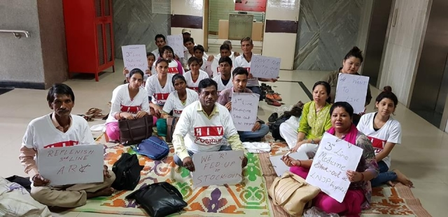 Sit-in protest against stock-out of third line ARV (anti-retroviral) drugs, at NACO's office in New Delhi on 11 July 2018.