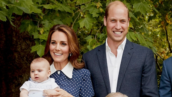 (Right to left) Prince William, Duchess of Cambridge Kate Middleton and their youngest kid Prince Louis.