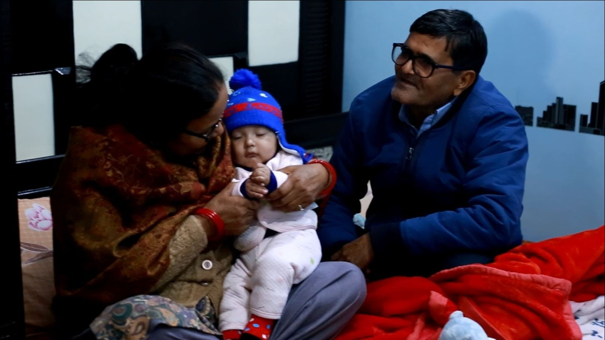 Yatharth plays with his grandparents.
