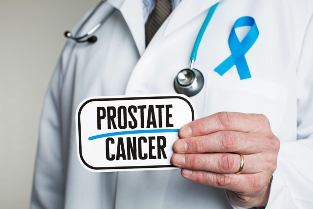 Prostate cancer occurs in the gland cells of the prostate, the gland surrounding the neck of the bladder.