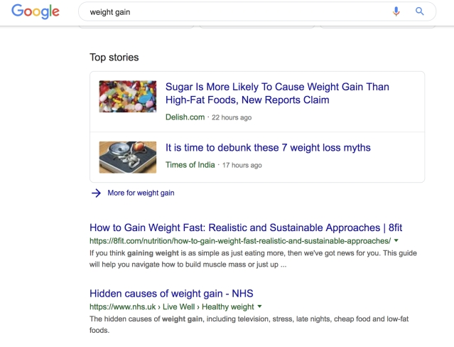 Searching for 'weight gain' options on Google