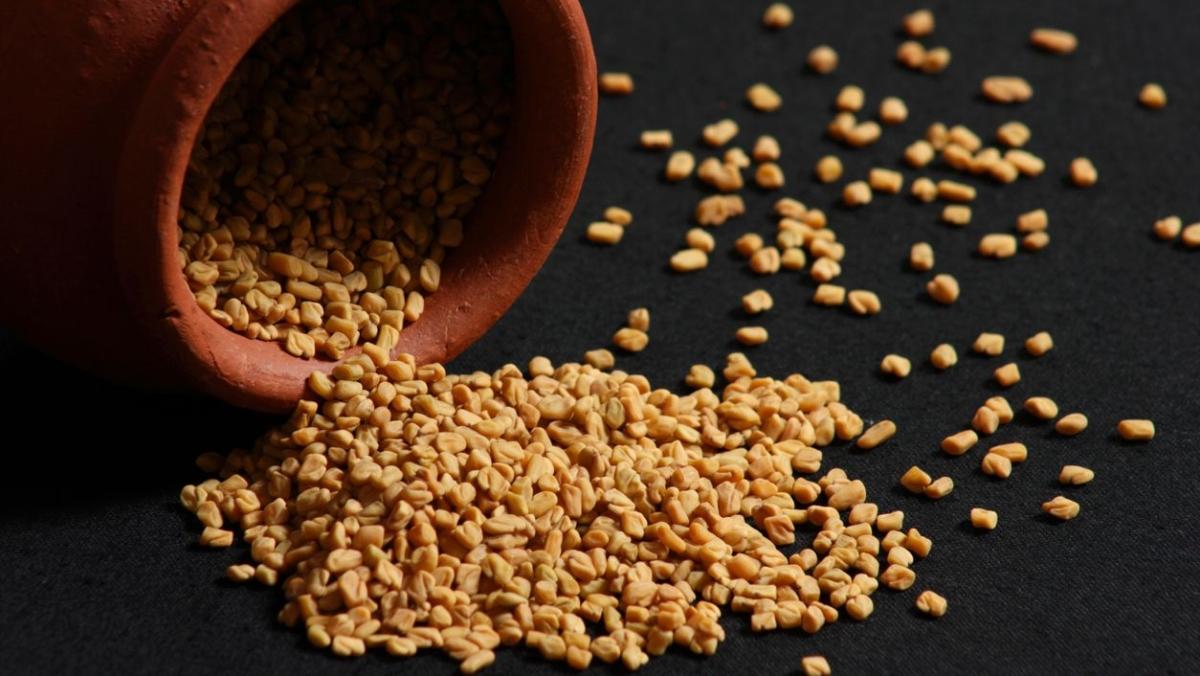 Fenugreek or methi seeds.