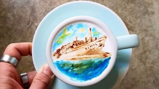 "Kangbin Lee Coffee Art work (Photo Courtesy: <i><a href=""https://scontent-sit4-1.xx.fbcdn.net/v/t31.0-8/19023262_803501523130975_9063704486220032975_o.jpg?oh=cc8a810ddfcbb461336e73a16f37464b&oe=599D7354"">Facebook</a></i> )"