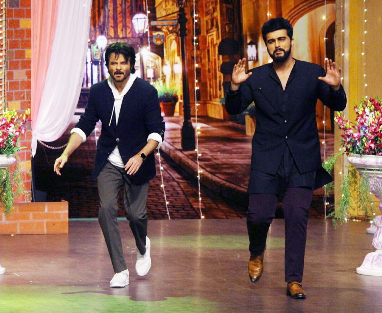 Anil and Arjun Kapoor on the sets of The Kapil Sharma Show.