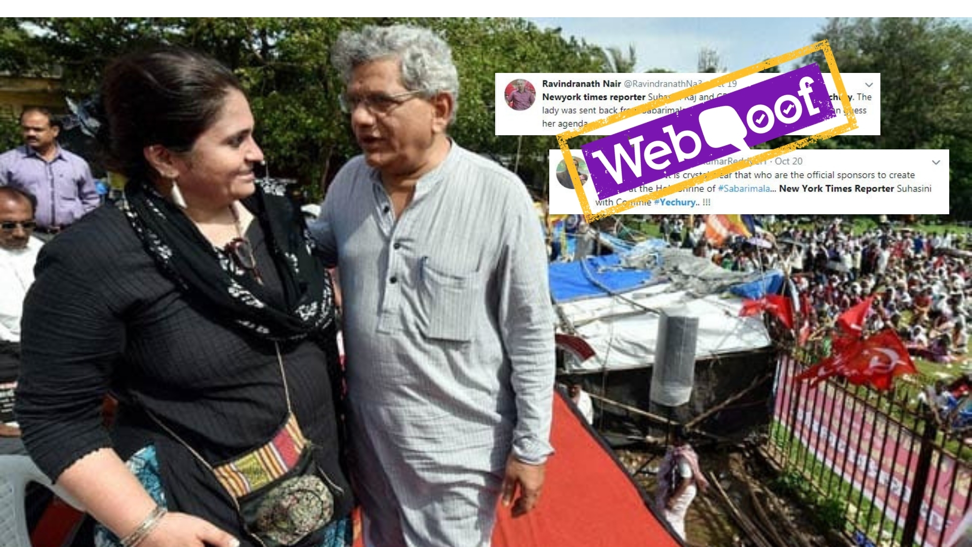 Woman in Photo Not NYT Reporter With Sitaram Yechury at Sabarimala