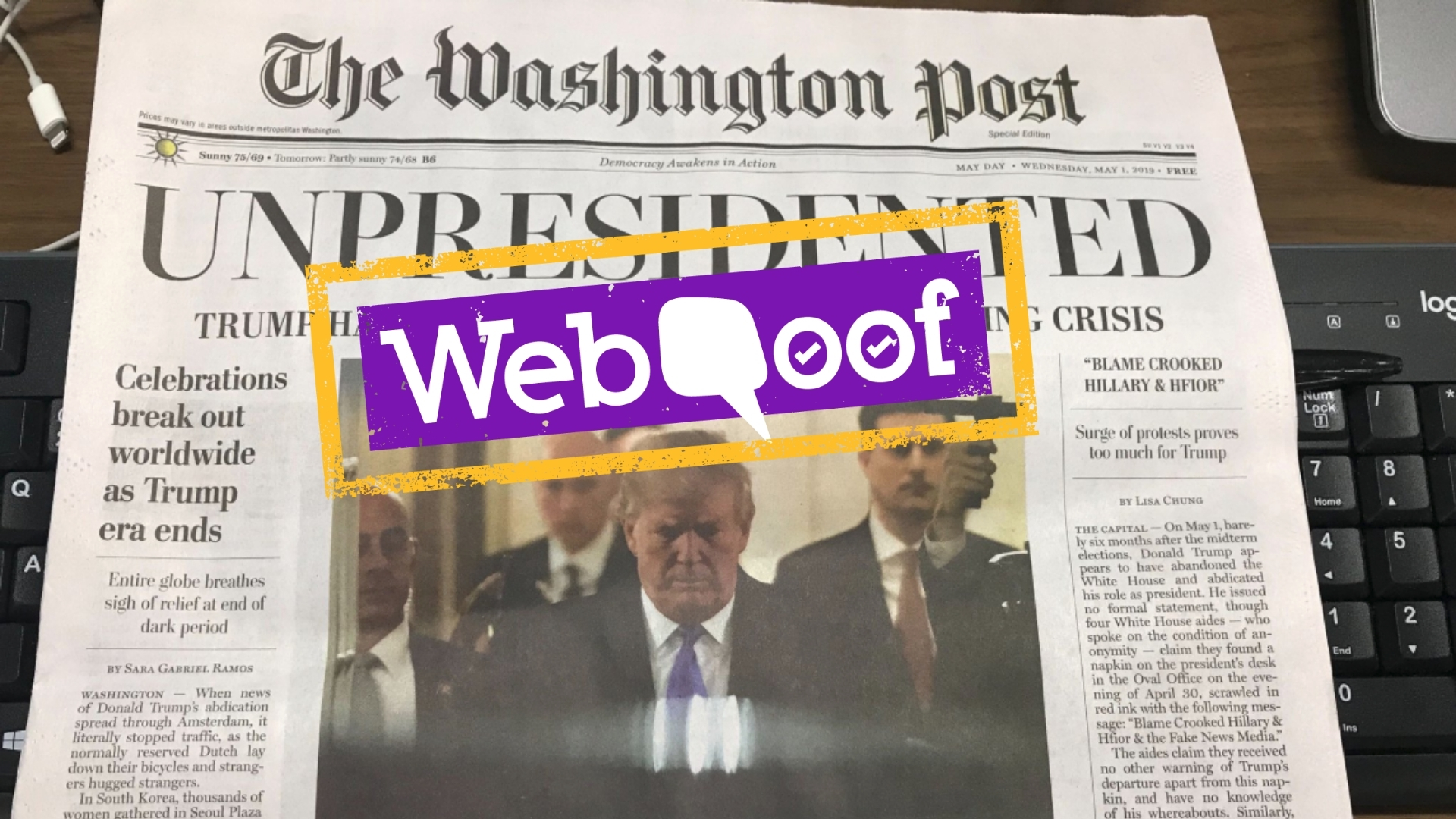 Fake Washington Post Edition on Trump's Resignation Spotted in DC