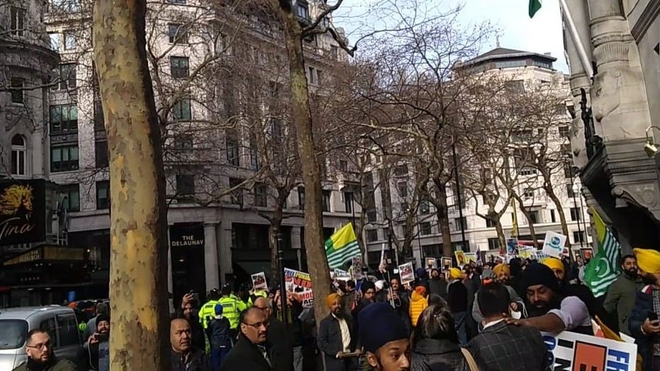 Clashes Break Out During Protests Outside Indian Mission in London