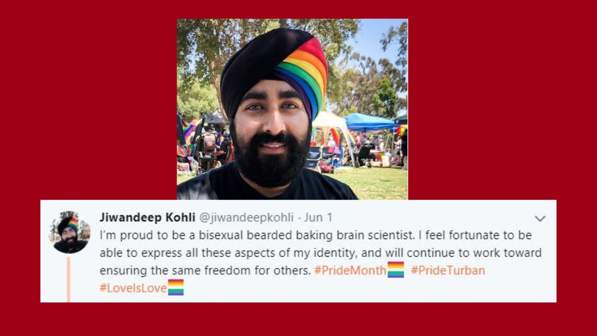 Photo of Sikh mans fantastic rainbow turban for gay pride