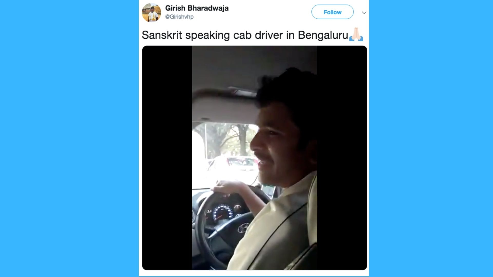 Video of a Bangalore Driver Speaking Fluent Sanskrit Goes Viral