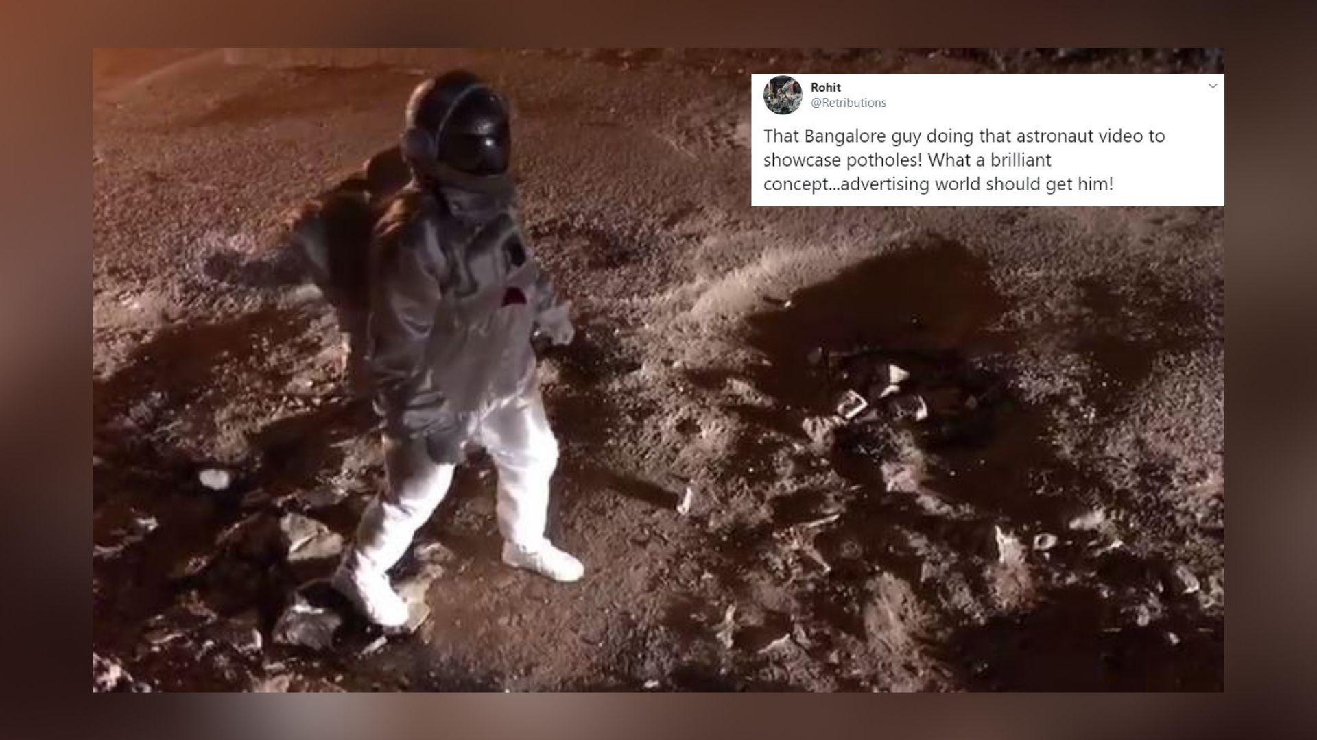 Artist 'Moonwalks' B'luru Streets in Space Suit, Wins Over Twitter