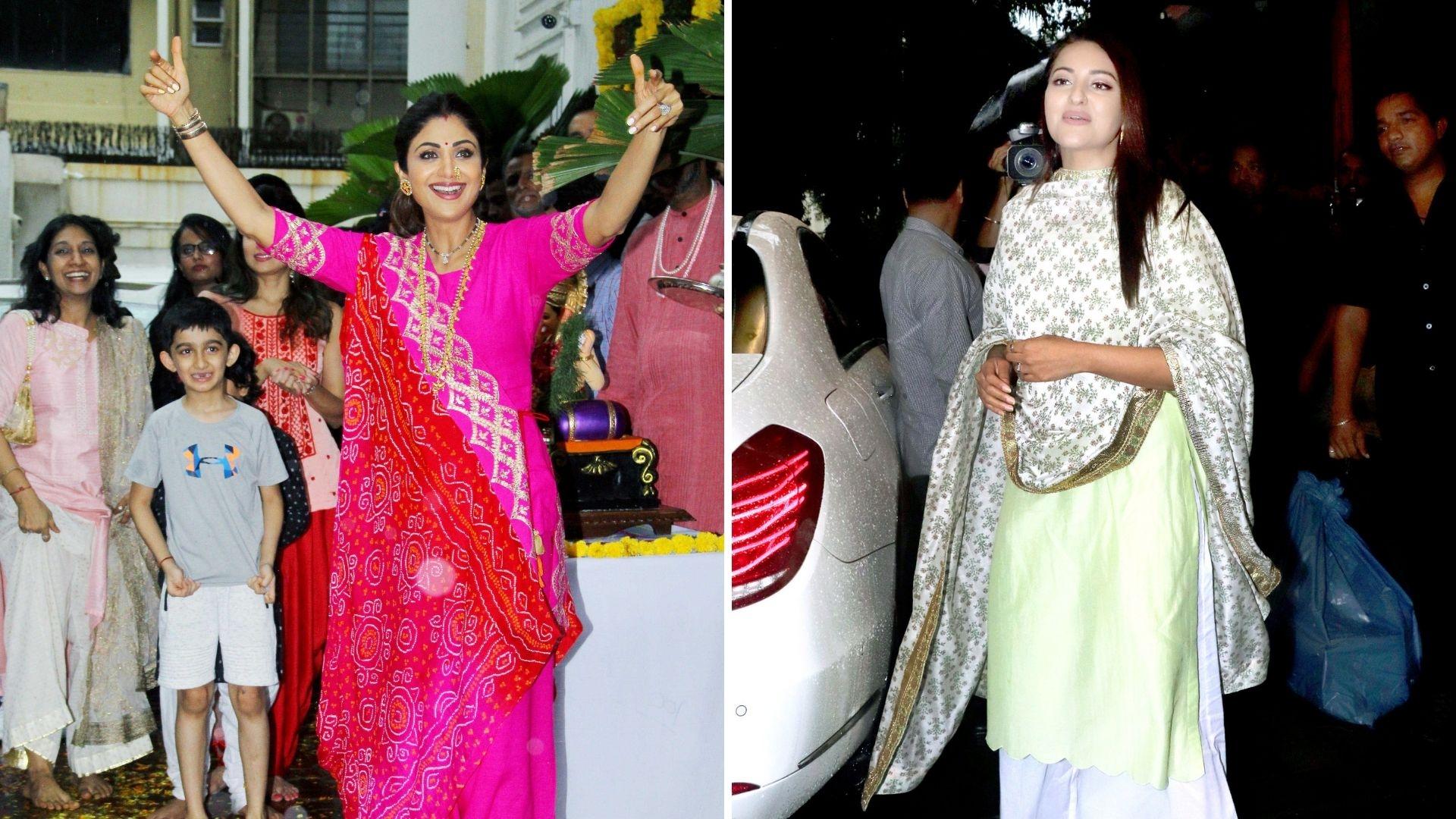 In Pics: Shilpa Shetty, Sonakshi Bid Goodbye to Ganpati Bappa