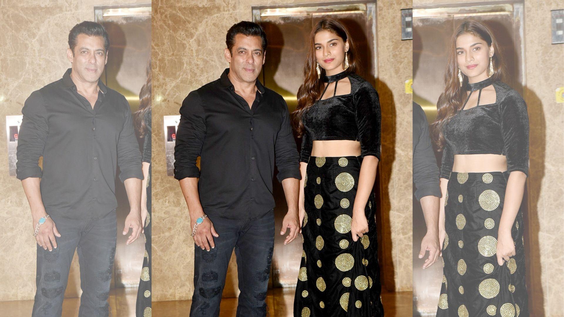 Salman Khan Poses With His 'Dabangg 3' Girl Saiee at Diwali Party